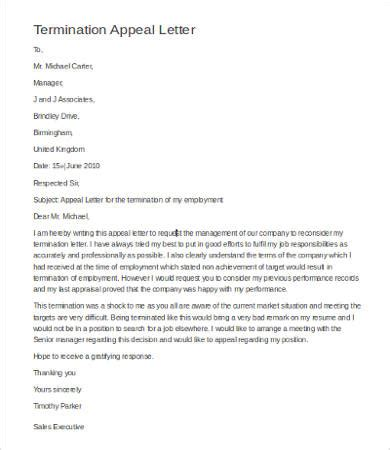 letter of appeal against dismissal template letter of termination 9 free word pdf documents
