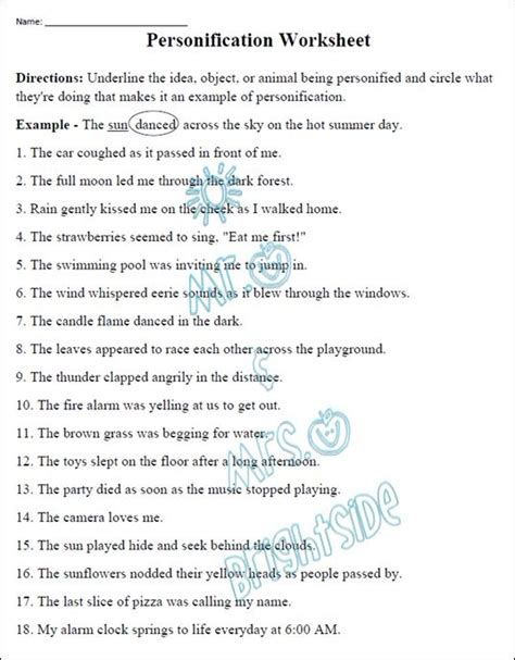 Personification Worksheets by Figurative Language Personification Worksheet