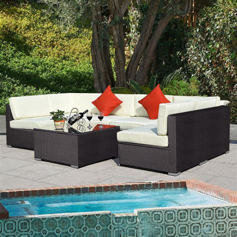 Outdoor 7pc Furniture Sectional Pe Wicker Patio Rattan Wicker Sectional Patio Furniture