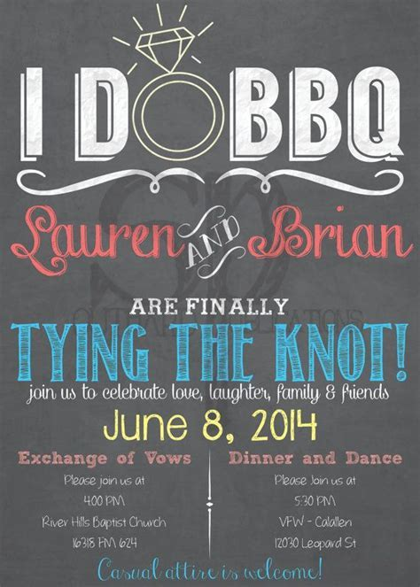 I Do BBQ Wedding Invitation Chalkboard or Burlap   Print