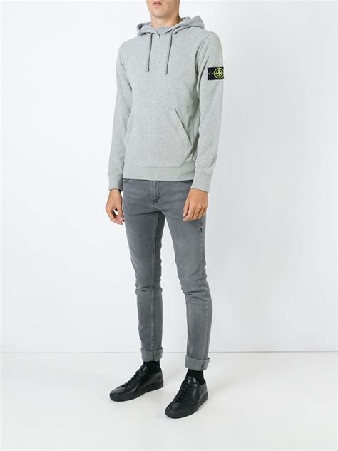 Hoodie Island 1 Zalfa Clothing lyst island kangaroo pocket hoodie in gray for