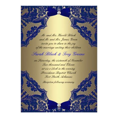 blue gold wedding card template navy blue and gold wedding invitation zazzle