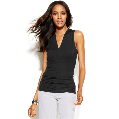 sleeveless top intl inc international concepts sleeveless ruched top in black