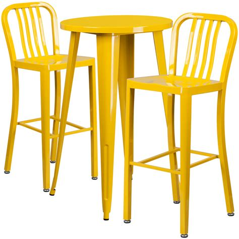 Yellow Bar Table 24 Yellow Metal Indoor Outdoor Bar Table Set With 2 Vertical Slat Back Stools