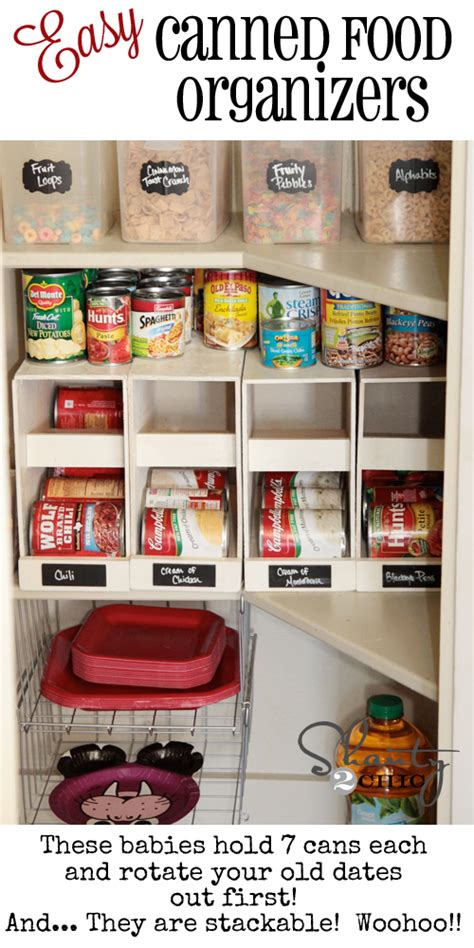 Diy Can Organizer For Pantry by Pantry Ideas Diy Canned Food Storage Shanty 2 Chic 2017