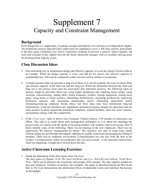 supplement 7 capacity and constraint management solutions 253413062 heizer om11 irm ch07 s