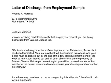 Employment Discharge Letter Letter Of Discharge