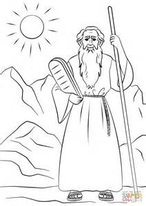 moses with the tablets of the law coloring page free