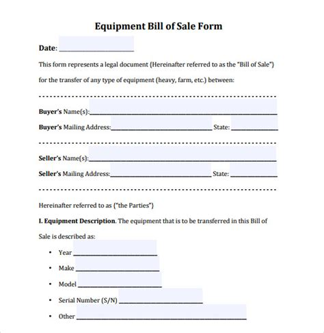 equipment bill of sale template sle equipment bill of sale template 7 free documents