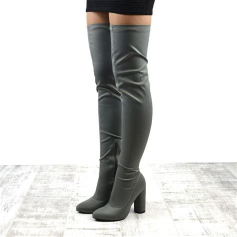 stretch thigh high boots new womens thigh high heel stretch the