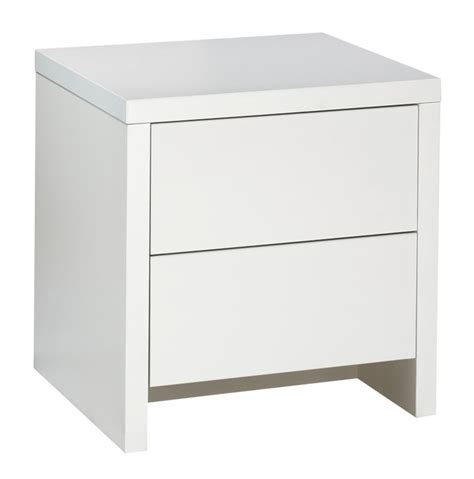 designer 2 drawer bedside cabinet white and white gloss