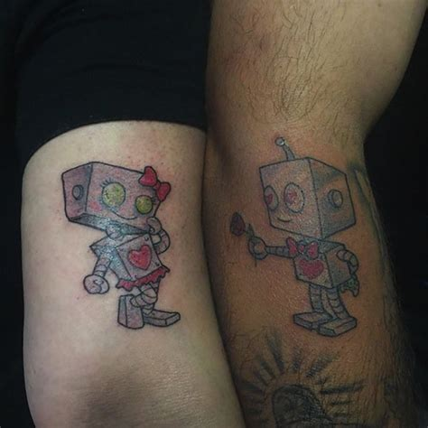 tattoo robot couple 14 matching lovers tattoos that are actually pretty cute