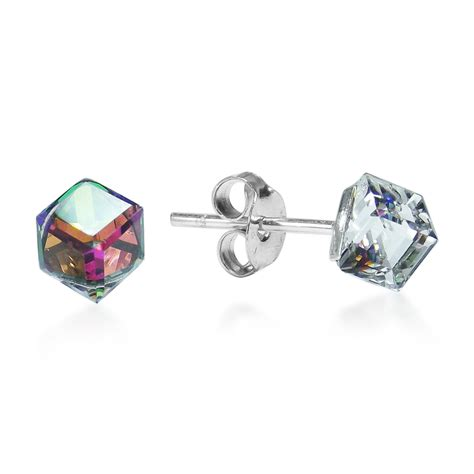 Original S Overall Set Rainbow rainbow prism cube 925 silver post earrings ebay