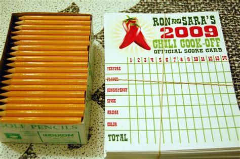 chili cook off score card score cards golf pencils chili cook off pinterest