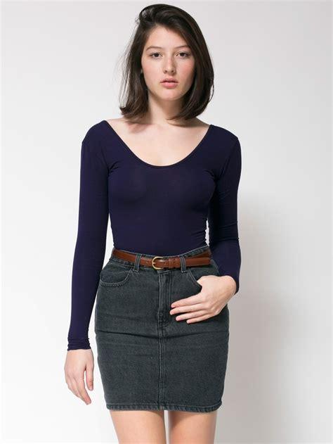 american apparel high waist denim mini skirt
