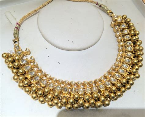 22k gold choker necklace kundan jadau indian jewelry 497