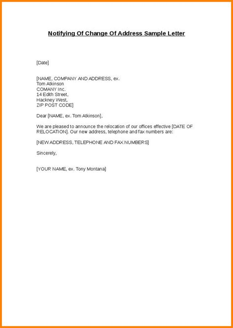 Business Letter Template Change Address 8 Change Of Address Template Resume Reference