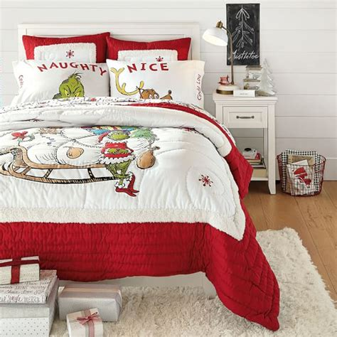 pottery barn christmas bedding the grinch quilt sham pbteen