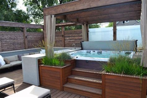 stunning garden hot tub designs