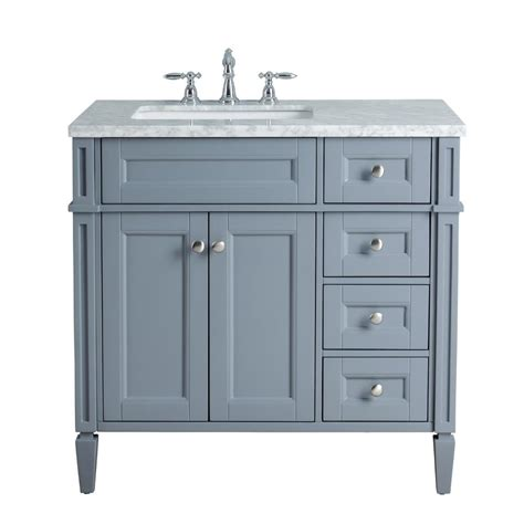 36 In Bathroom Vanity With Top Stufurhome 36 In Grey Single Sink Bathroom Vanity With Marble Vanity Top And