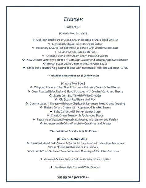 southern charm wedding reception menu