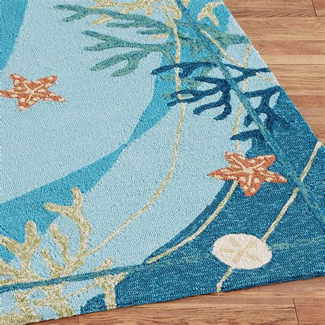 coral runner rug underwater coral starfish indoor outdoor rugs