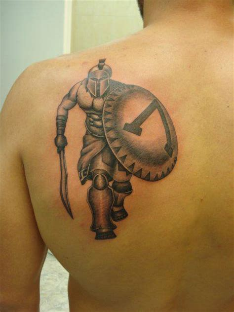greek warrior tattoo left back shoulder ancient warrior