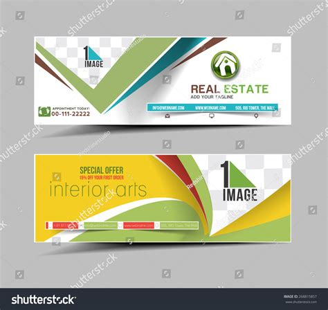 header layout real estate business ad web banner stock vector 268815857
