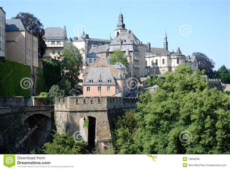 Lu City Z view luxembourg city town with city wall stock photo