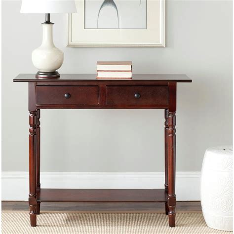 cherry sofa table with storage safavieh rosemary dark cherry storage console table