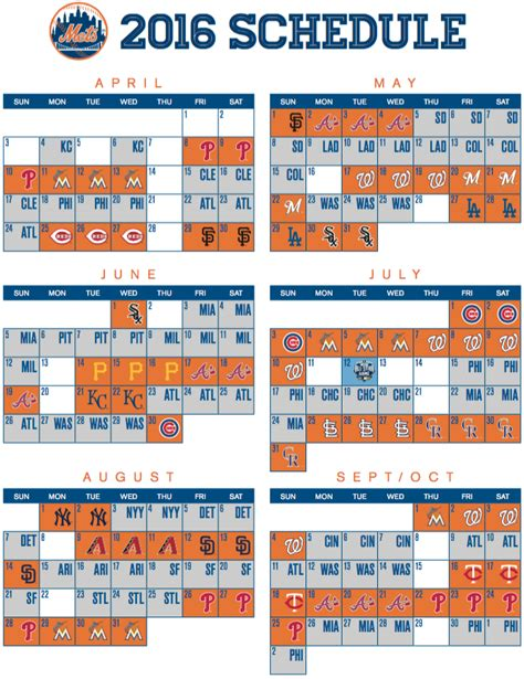 mets 2016 schedule released amazin avenue