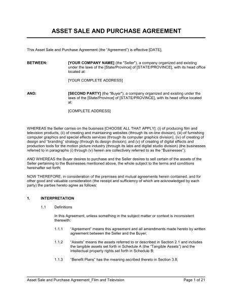Asset Transfer Letter Sle Asset Sale And Purchase Agreement Television Template Sle Form Biztree