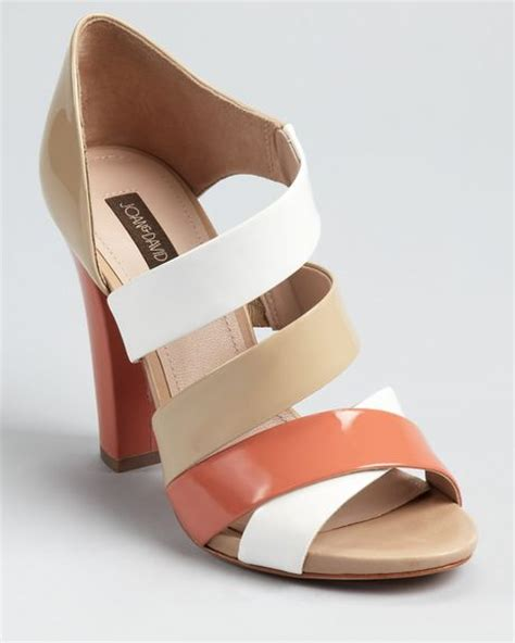 coral colored sandals joan david sandals deanza color block in brown white