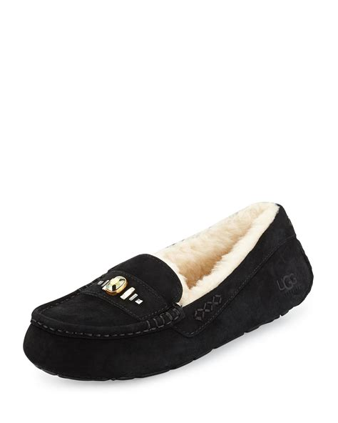 black slippers ugg ansley suede slippers in black lyst