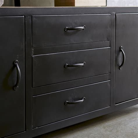 tikamoon industriel metal and mango vanity cabinet 140