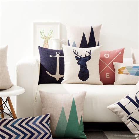 aliexpress com buy nordic simply geometric pillow home nordic red blue deer head pillow cover simple geometric