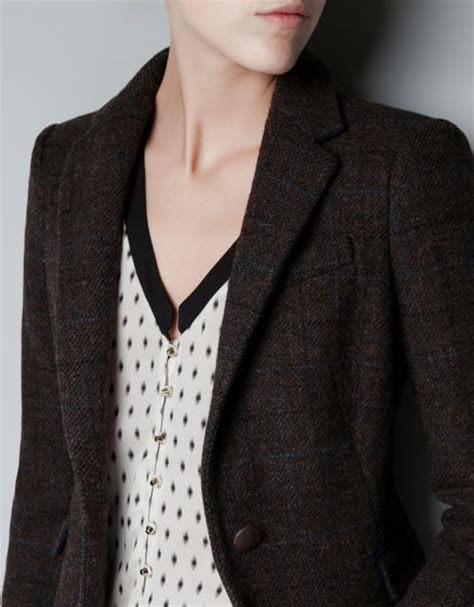 zara with checked patches in zara checked wool blazer with patches in brown lyst
