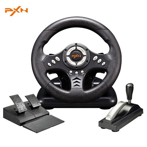 pxn v18s illusiveness usb wired vibration motor racing steering wheel with brake