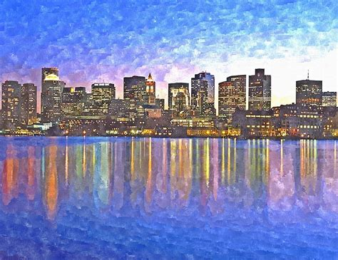 Boston Skyline By Painting By Niedermayer
