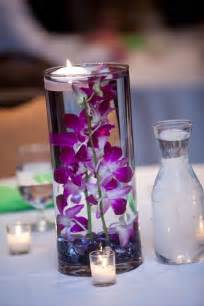 simple purple wedding centerpiece with candlewedwebtalks
