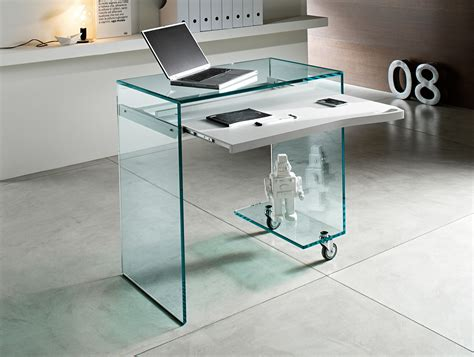 Office Desk Glass Nella Vetrina Tonelli Work Box Modern Italian Glass Desk In Glass