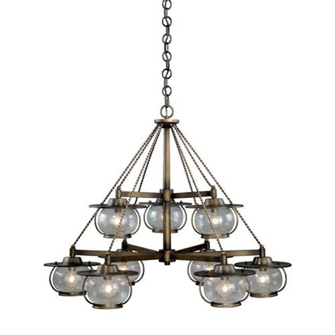 Seeded Glass Chandeliers Vaxcel Jamestown Parisian Bronze Nine Light Chandelier With Seeded Glass On Sale