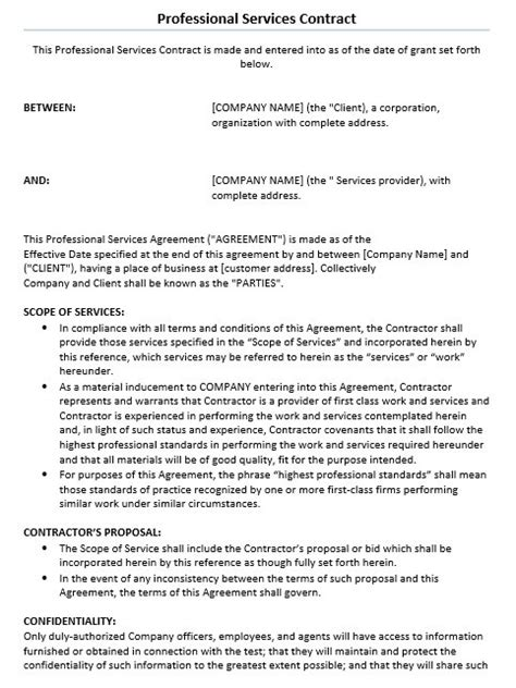 11 Free Sle Professional It Service Agreement Templates Printable Sles Professional Services Agreement Template