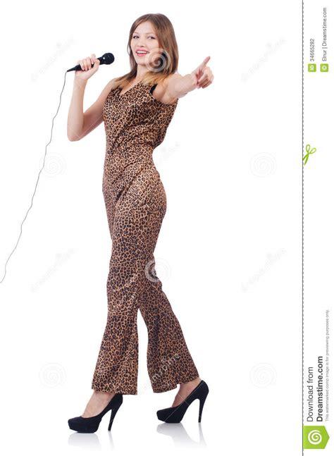 doubletake swimwear doubletake microwear woman singer with microphone stock