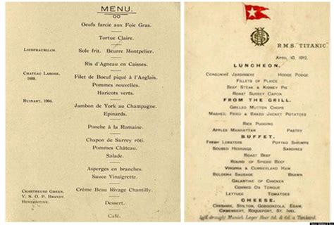 titanic menu rare titanic menus auctioned for world record breaking