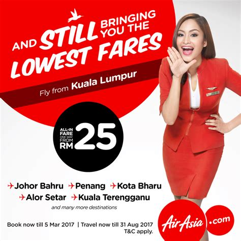 airasia discount airasia lowest fares from rm25 flights promotion 2017
