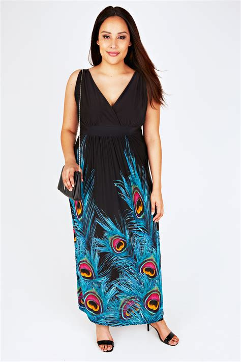 Idw079 Blue Size 16 5 black and blue peacock feather print maxi dress plus size