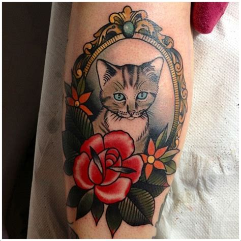 tattoo cat and rose cat tattoos page 27
