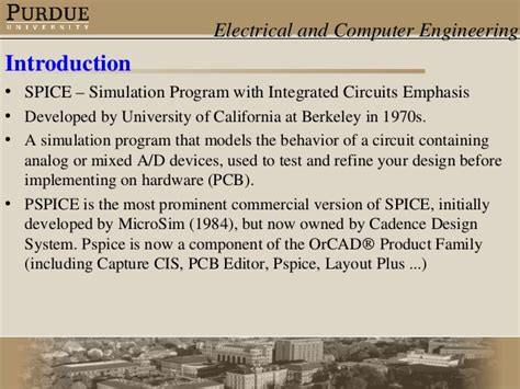 pspice simulation program with integrated circuit emphasis pspice software presentation