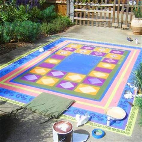 painted rug on concrete feeling crafty